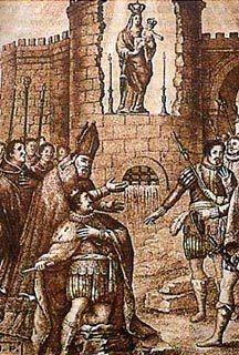 Dibujo que muestra la aparición de la Virgen de la Almudena